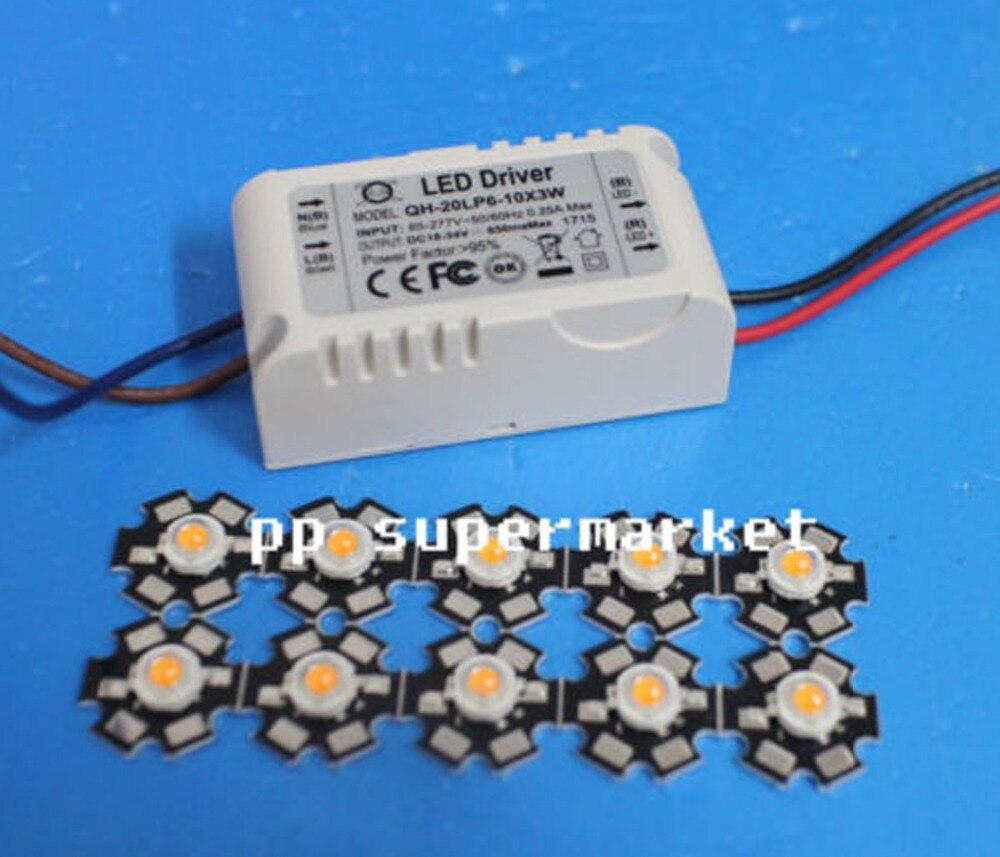 10X 3W planta crece espectro completo 380-840nm LED de alta potencia + controlador 6-10x3w
