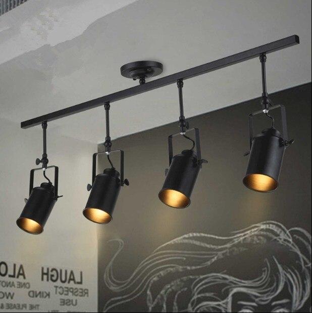 Lámpara artística de pista de Luz retro espacio moderno minimalista Industrial Americano bar reflectores para tienda de ropa lámpara de fondo de techo