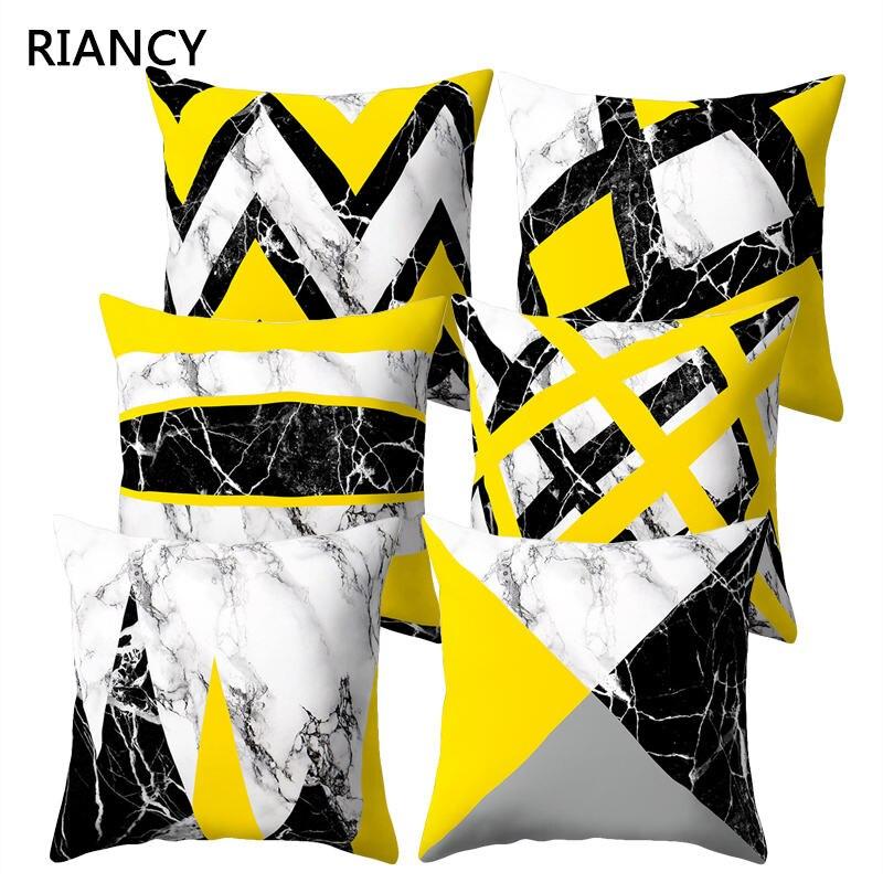 Желтая наволочка для подушки мраморные геометрические декоративные наволочки для диванной подушки украшение дома из полиэстера de Coussin 40548