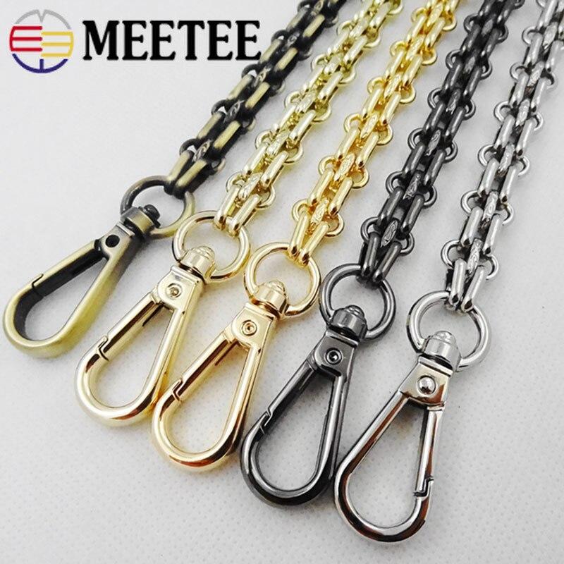Meetee, 40/60/80/100/120/140cm, 12mm de ancho, cadena de Metal, cierre giratorio, hebilla, ganchos para los bolsos, Hardware, accesorios de correa para bolso DIY, BF202