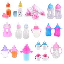 1/2/3 pçs garrafa de leite mamilo boneca alimentação-garrafa engraçado bebê recém-nascido boneca acessórios para 43 cm/18 polegada gill boneca