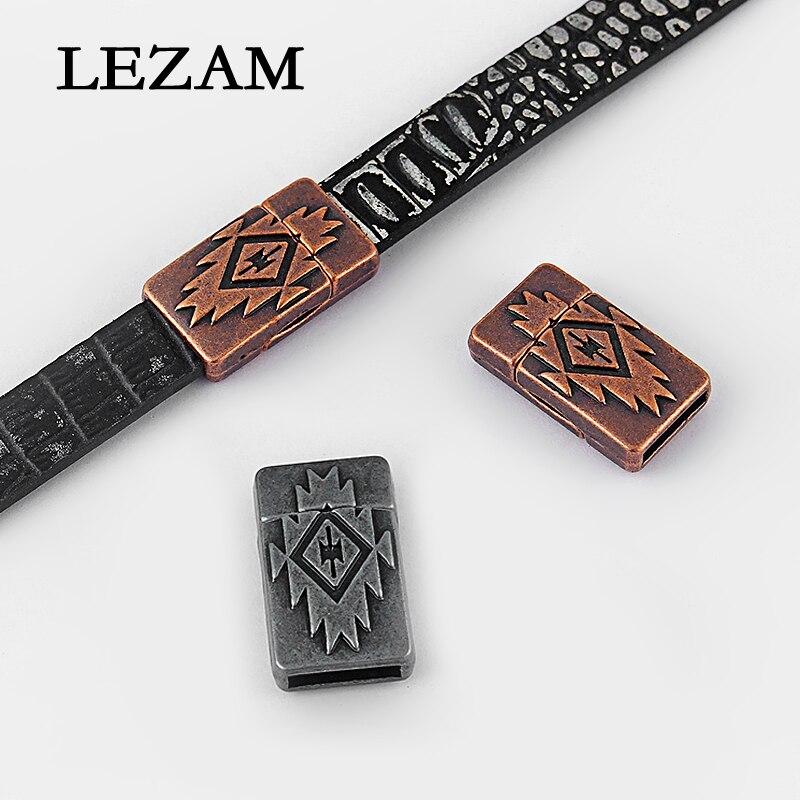 5 ensembles Antique cuivre/pistolet noir en relief fort fermoir magnétique pour 5mm 10mm plat cuir cordon Bracelet et bracelets résultats de bijoux