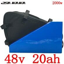 Треугольная батарея 48 в 20 А · ч, литиевая батарея 48 в 1000 Вт 2000 Вт для электрического велосипеда 48 в 20 А · ч с зарядным устройством 54,6 в 5 А + сумк...