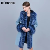 hdhohr 2021 hot sale cashmere coat women winter collar with natural real fox fur jacket genuine leather fox fur coats female