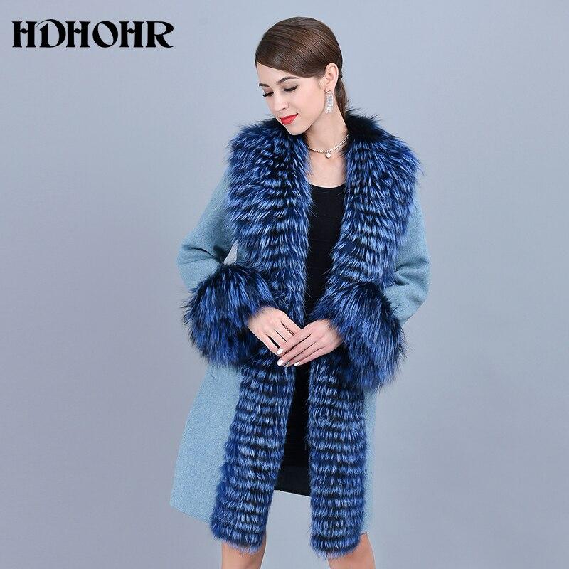 HDHOHR 2019 abrigo de cachemir para mujer cuello de invierno con chaqueta de piel de zorro Real Natural abrigos de piel de zorro de cuero genuino mujer