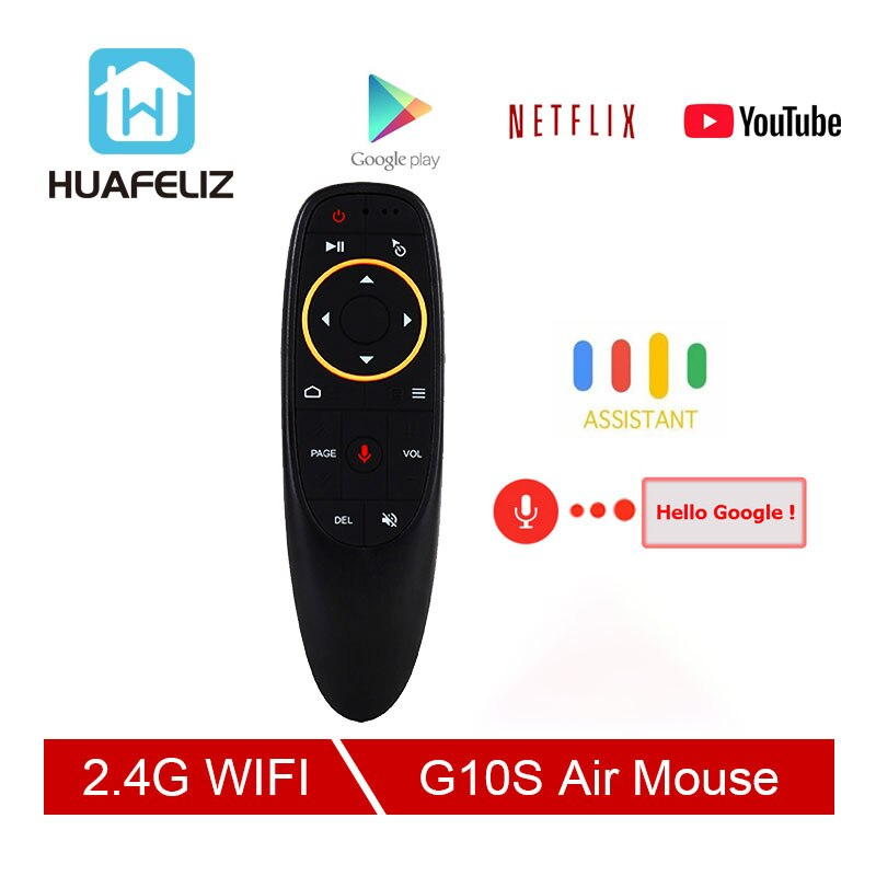 G10 S ratón de voz 2,4 GHz inalámbrico Google micrófono Control remoto IR aprendizaje giroscopio de 6 ejes para Android TV Box PC