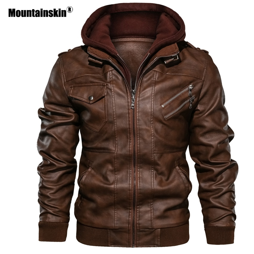 Mountainskin-جاكيت رجالي من الجلد الصناعي غير رسمي لراكبي الدراجات النارية ، ملابس ذات علامة تجارية ، مقاس أوروبي ، SA722