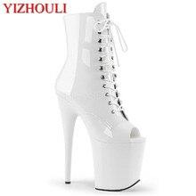 20cm PU vamp heels, 8in peep-toe dicke stiefel mit dünnen trägern, niedrigen rohr tanzen schuhe für frauen