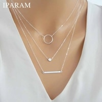 IPARAM Bohemian Multilayer Round Hole Metal Rod Necklace Vintage Gold Silver Color Geometric Ladies Necklace Necklace