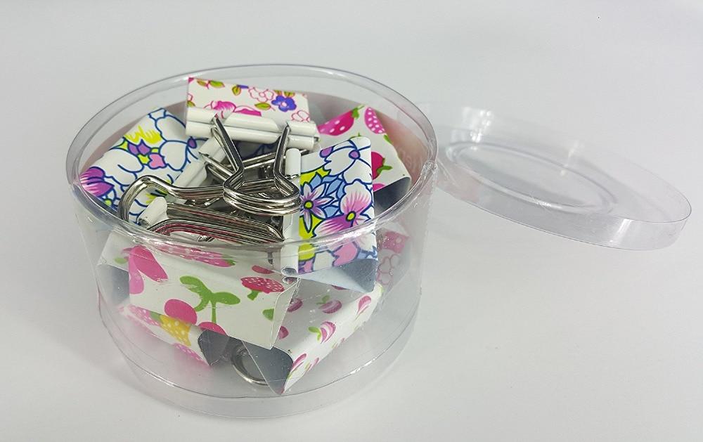 Lindo estampado de Clips de carpeta metálicos/Clips de papel/abrazaderas, 32mm (1 1/4 pulgadas), paquete de 12