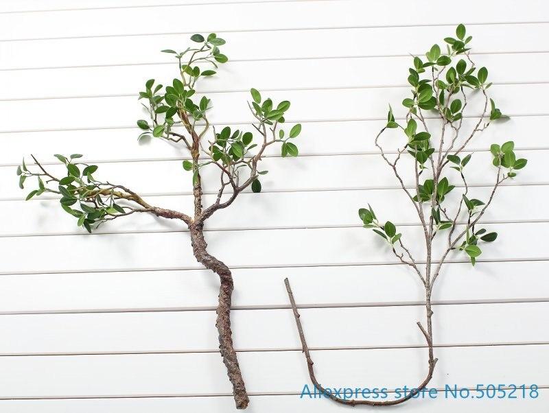 1 Uds hermosa Rama de hojas verde artificial planta de plástico Bush decoración de la boda del hogar F419