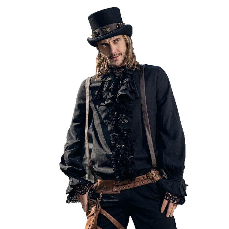 Camisas Steampunk para hombre Vintage cuello alto con camisa y corbata linterna negra Fancy Gorgeous Stretch sleeve smoking camisas