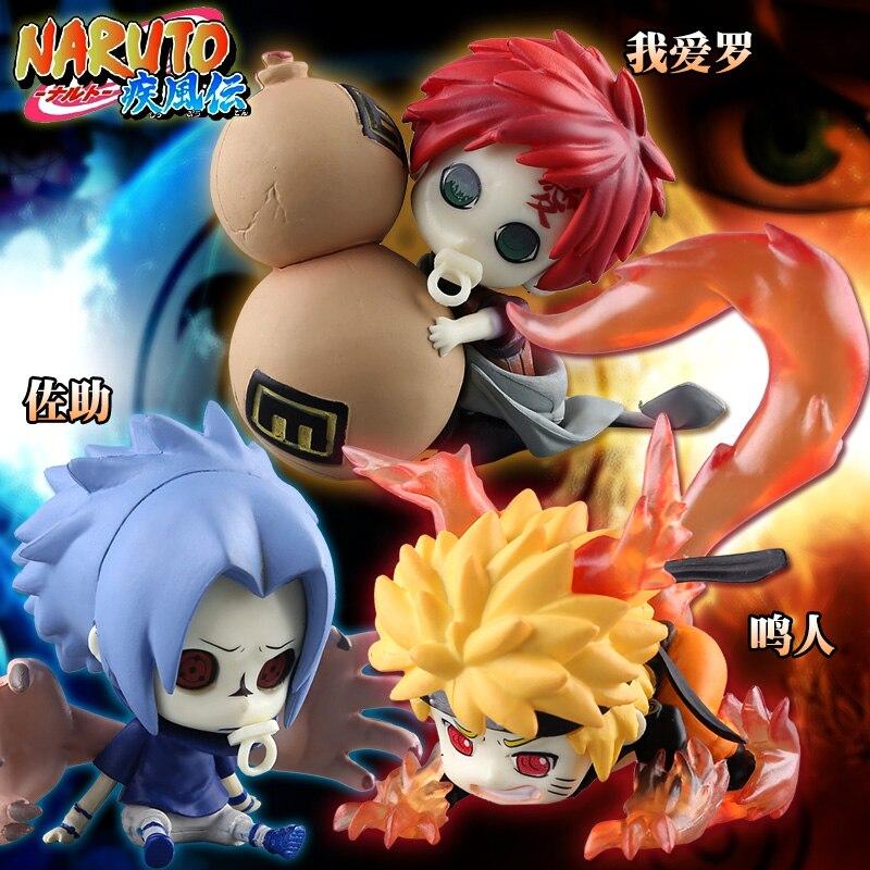 Anime en caja Naruto Shippuden bebé Naruto bebé Sasuke Gaara PVC acción figura linda chica resina juguete de modelo de colección regalos