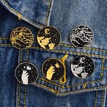 Sac à main Antique en jean   Veste en alliage, motif de lune, poigneuse étoile, broche, broches en émail, Badges métalliques sur le sac à dos