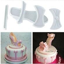 9Pcs/set Plastic Fondant Ladies High Heel Shoe Cutter Press Mold Cake For Cake Decoration Tools Embossing Dies E512