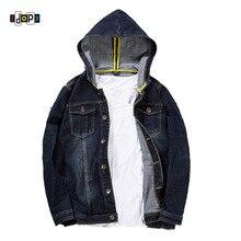 Idopy 2018 Fashion Mens Denim Jackets Coats With Hood Denim Jackets Plus Size Jeans Jackets Hooded Jean Jacket Coat for Male