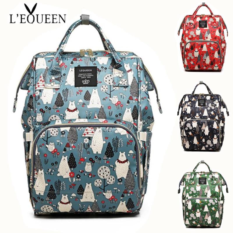 Bolsa de pañales LEQUEEN, Mini zarpa de oso, bolsa de pañales impermeable con dibujos animados pintados, mochila de viaje para el cuidado del bebé, bolsa de maternidad