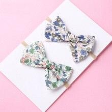 Bandeau ou Clips de cheveux en Nylon   Bandeau avec nœud à la main pour écolière, bandeaux à nœuds en tissu imprimé Floral, cadeau pour réception-cadeaux pour bébé