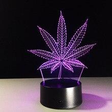 3d led 밤 램프 터치/원격 제어 7 색 led 마리화나 대마초 잎 아크릴 패널 테이블 조명 침실 어린이위한 어린이 선물