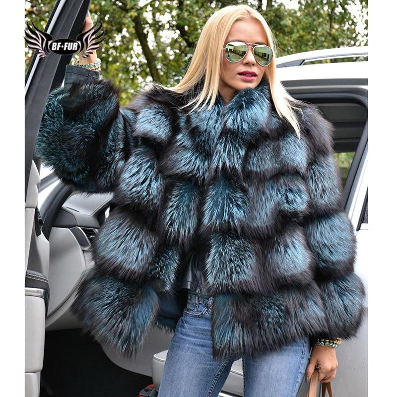BFFUR женская зимняя куртка 2021, Модные Куртки из натуральной кожи, новая одежда больших размеров, пальто с натуральным мехом, пальто с синей ли...