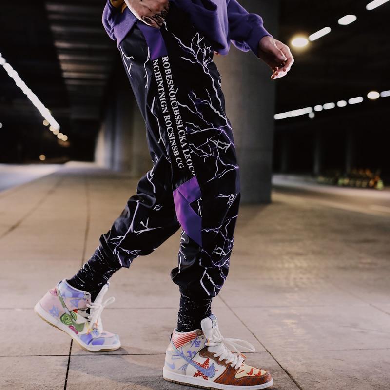 Pantalones finos Ins para hombre, pantalones de correr Cargo informales con tiras reflectantes, pantalones de baile para hombre de Hip Hop, ropa informal de moda, pantalones de Color Muti para hombre