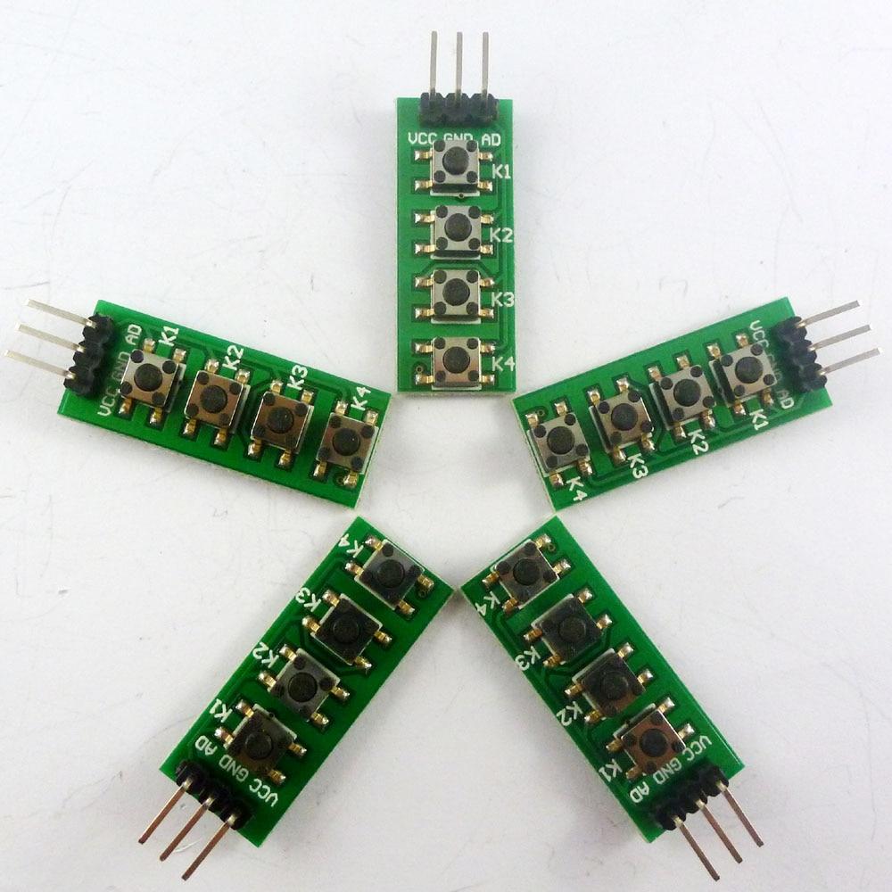 KC11B04 * 5 5 uds 3-5V 4 botones AD teclado Botón de salida analógica para Arduino nano uno raspberry pi 3 Placa de pruebas starte