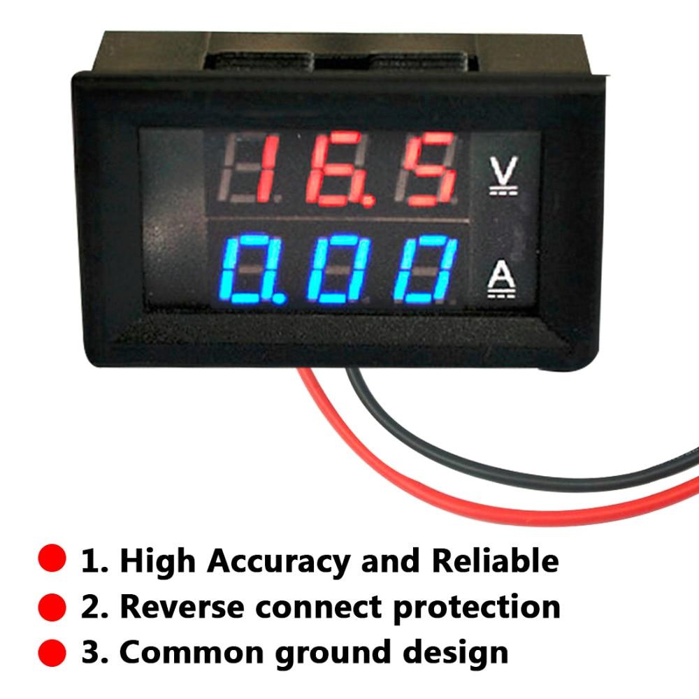 "1PC Mini Digital voltímetro amperímetro DC 100V 10A Panel Amp voltios medidor de corriente de voltaje de 0,28 ""Azul Rojo de doble LED pantalla"