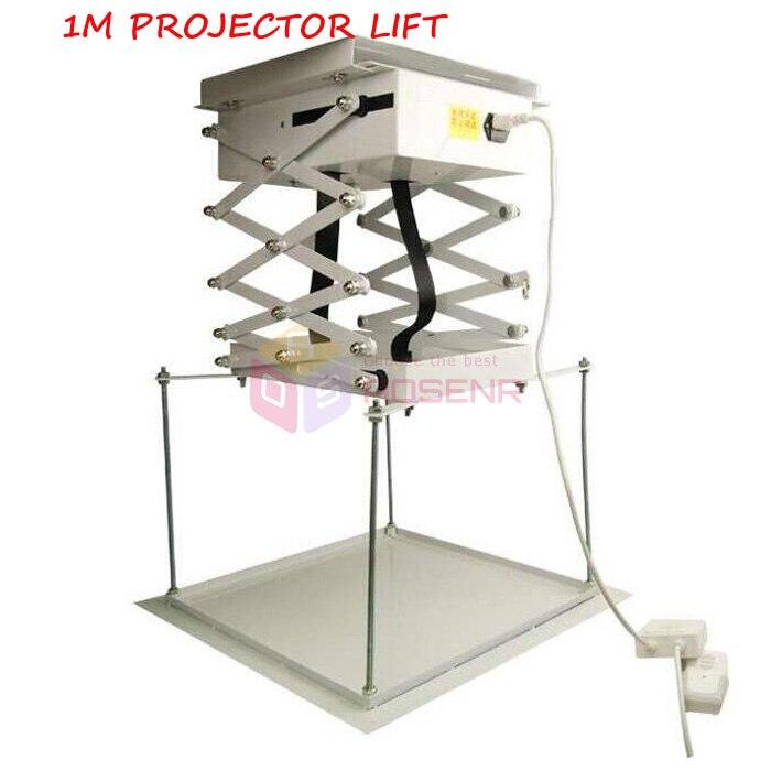 Soporte de proyector de 1M para cine, sala de Iglesia, Schoo, proyector de tijera motorizado, soporte de montaje en techo eléctrico con Control remoto