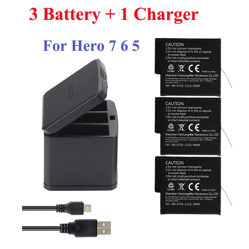 Go Pro Hero 2018 Hero 8 7 Hero 6 Hero 5 3-hole storage box charger + 3 pcs battery  For GoPro 8 7 Black camera accessories telesin 3 way led battery charger 3 battery pack charging box type c cable for gopro hero 8 7 6 hero 5 black accessories set