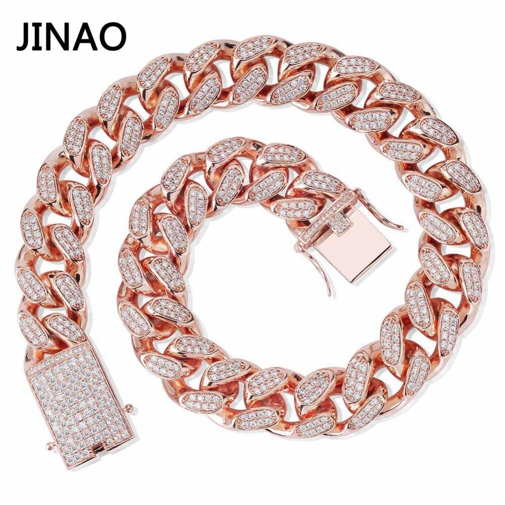 جيناو-عقد رابط كوبي من الزركون للرجال ، سلسلة سميكة 20 مللي متر ، مجوهرات هيب هوب لامعة ، ذهب وردي 16 ''-30''