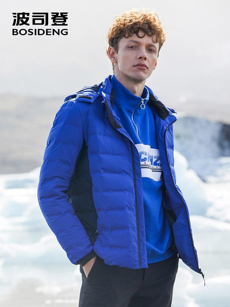 Bosideng inverno para baixo jaqueta para homem para baixo casaco luz quente com capuz à prova dbágua b80132103