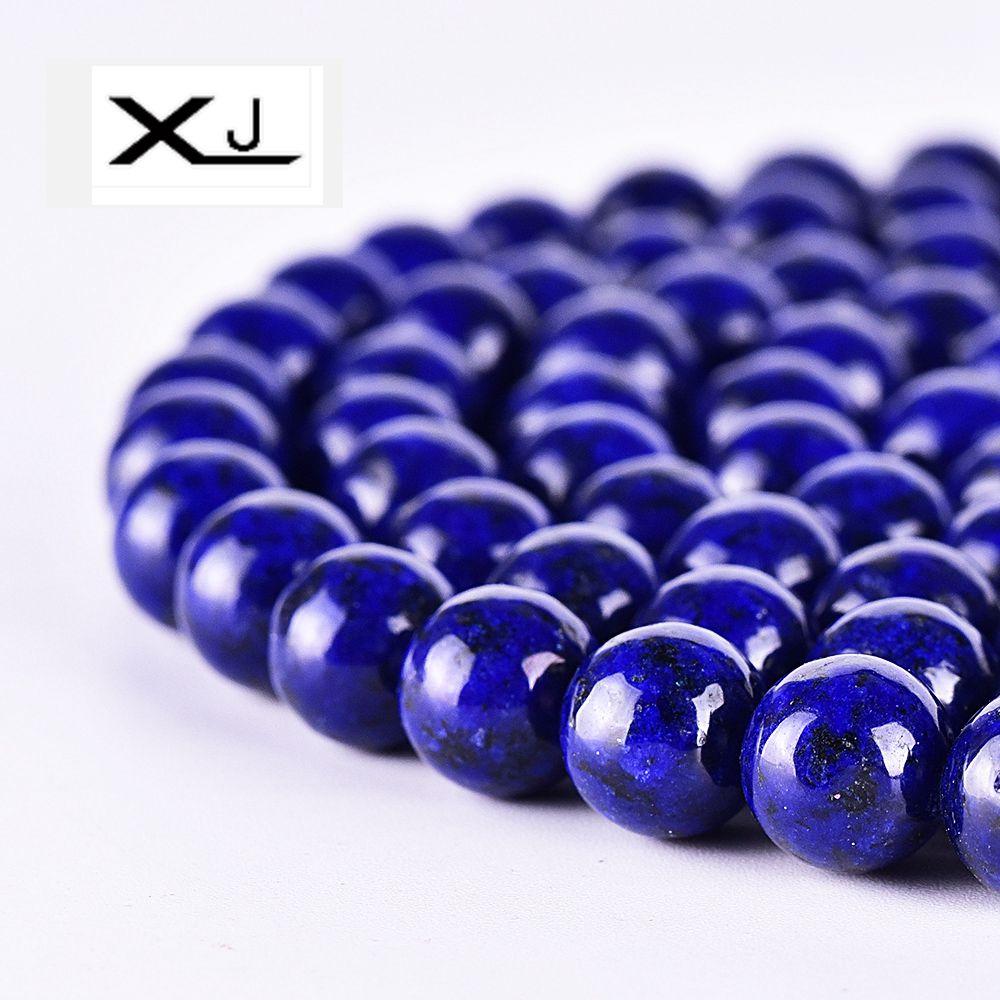 Xj natural lapis lazuli pedra redonda solta grânulos 4mm 6mm 8mm 10mm 12mm escolher tamanho grânulos para fazer jóias diy pulseira