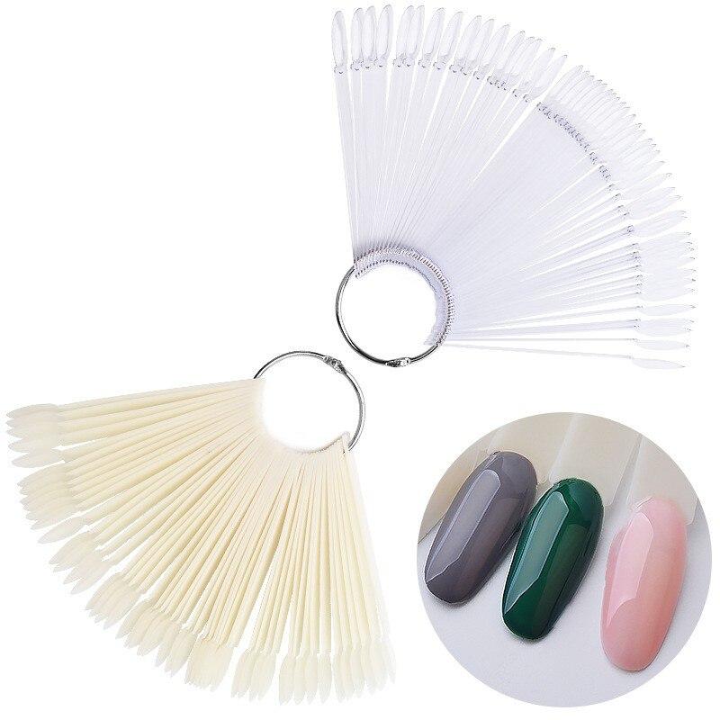 2018 nuevo 1Set 50 Uds Nail Art falso práctica de consejos Display transparente uñas postizas de color Natural polaco Display manicura herramientas ND11