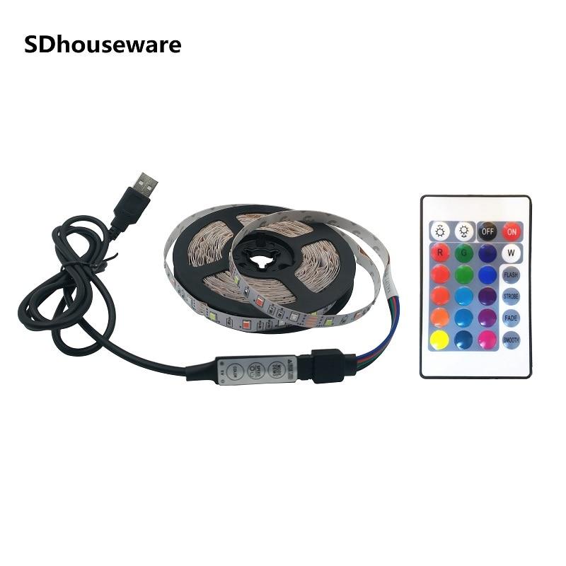 Tira de Led 5V IP65 USB Cable impermeable lámpara de luz SMD3528...