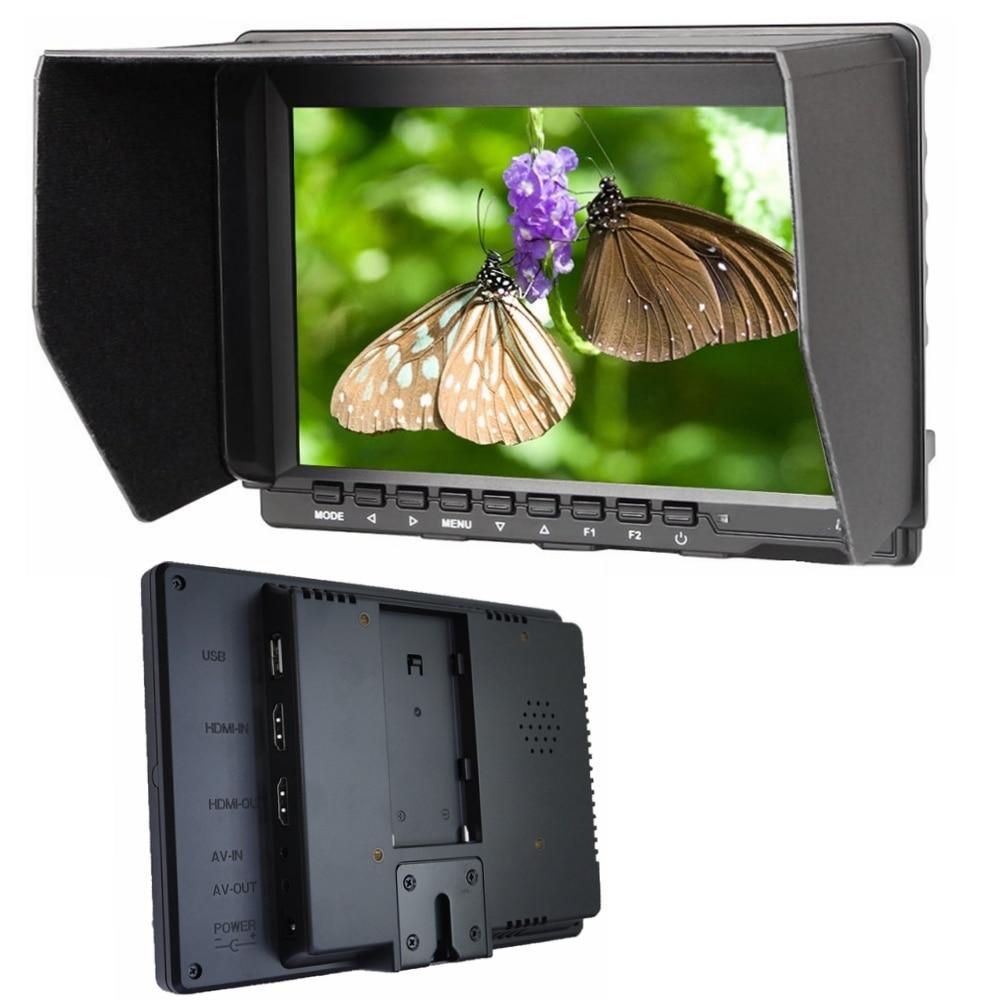 """Nuevas existencias 7 """"IPS HD Monitor USB HDMI ENTRADA AV/salida 1280*800 para cámara DSLR BMPCC, con sombrilla FW759 para BMPCC BMCC"""
