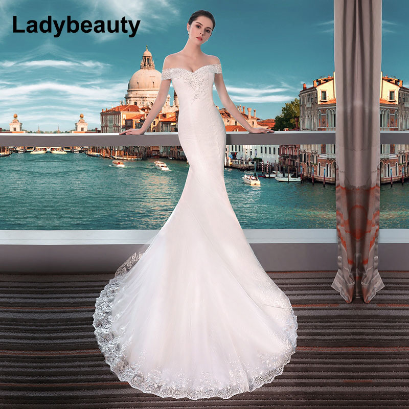 black long sleeve mother off bride dresses wedding party dresses mother of the bride lace dresses for mothers brides Ladybeauty New 2018 Sexy Mermaid Wedding Dresses Boat Neck Short Sleeve Lace Bride Dresses Wedding Gown