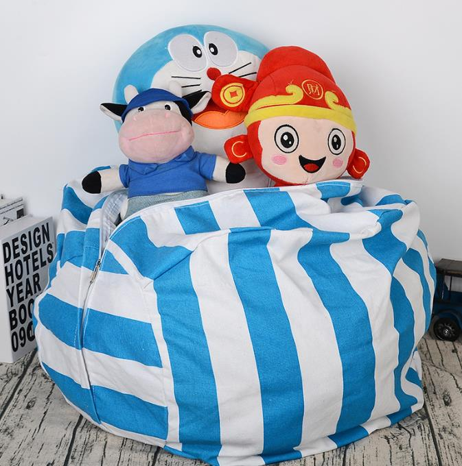 Cotton Canvas Stripes Storage Bags For Stuffed Plush Toys Travel Clothes Sundries Bag Large Capacity
