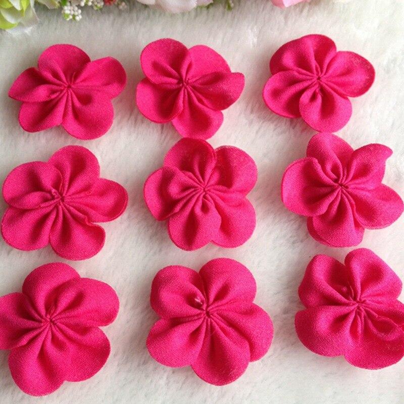 HL 20pcs 30mm Fushia Color Chiffon Ribbon Flowers Double Handmade  Apparel Accessories Sewing Appliques DIY Crafts A644