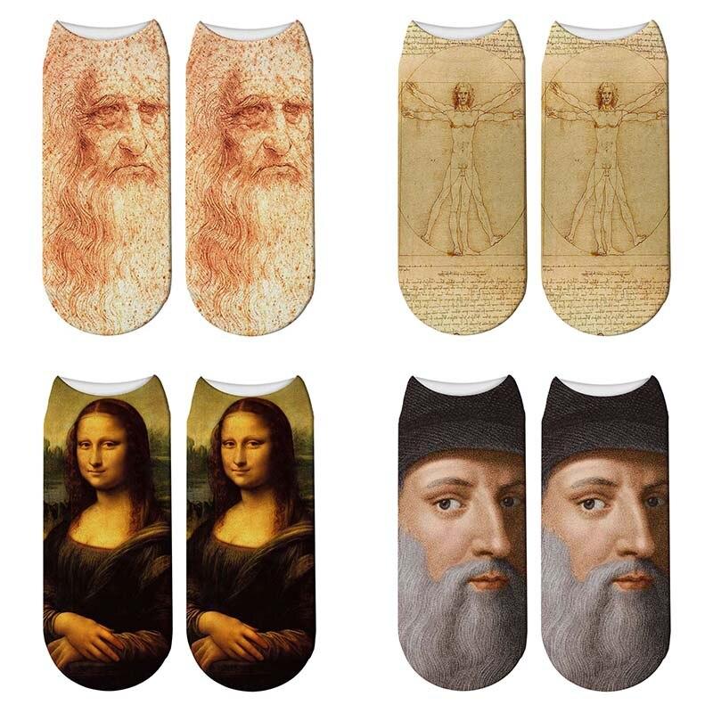 Nouveau 3D rétro peinture Art Da Vinci chaussettes femmes drôle Monalisa chaussettes courtes peinture à lhuile vitruvien homme chaussettes courtes