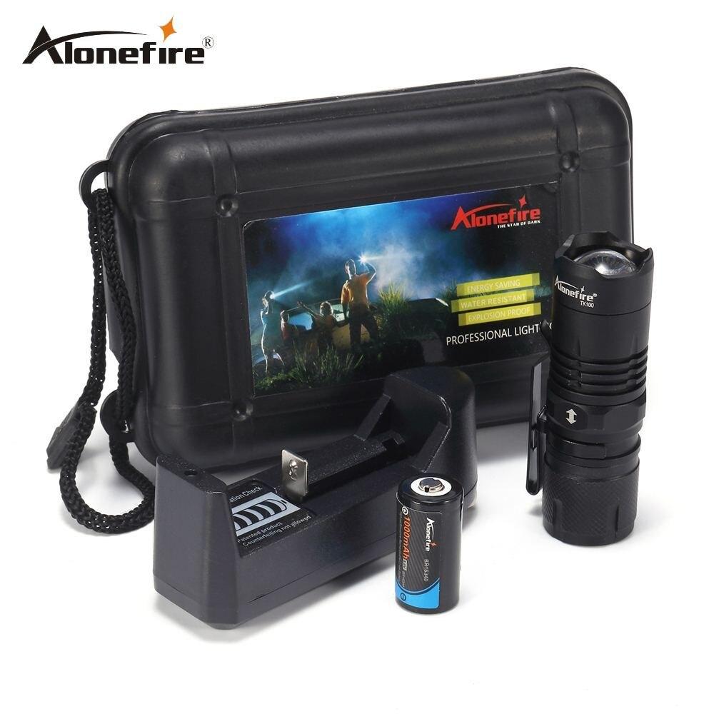 AloneFire TK100 Draagbare Mini Zaklamp CREE XML-T6 LED lantaarn 4 Modes Zoomable Waterdichte fakkel penlight voor fiets Met Magneet
