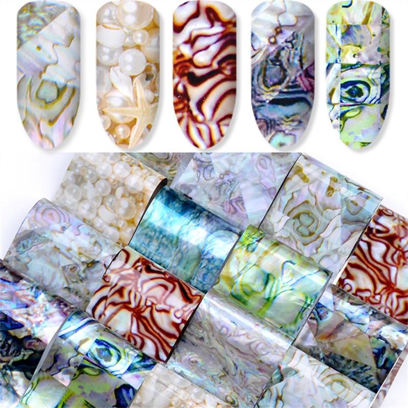 16 pièces holographique feuille dongle coloré léopard coquille perle modèles transfert autocollants décalcomanies pour Nail Art décoration conseils