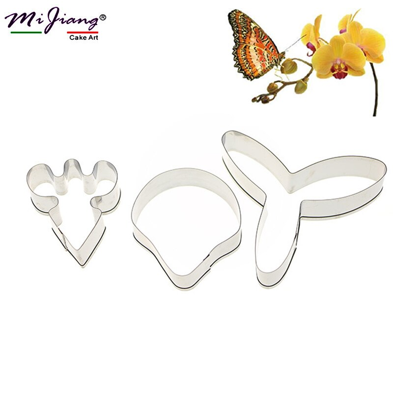 3 unids/set mariposa orquídea flor de azúcar torta molde Fondant galleta cortador herramientas de decoración de pasteles de boda DIY hornear molde A360