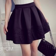 2017 Spring Autumn Empire Mini Ball Gown Lace Patchwork Skirt Women Jupe femme Falda de las mujeres