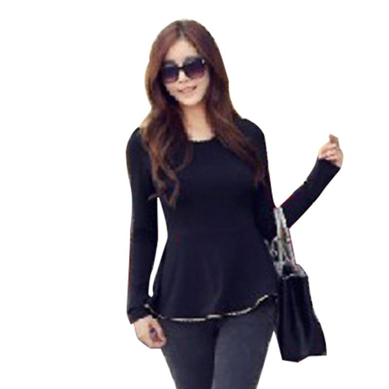 New Fashion Sexy Womens T-shirt Tunic Gold Hem O-neck Long Sleeves Fitted Peplum  Tops Shirts D0006