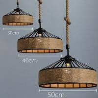 50cm 40cm 30cm Retro Industrial Style Hemp Rope Lamp LED Pendant Light Vintage Iron Hanging Lamp Lights for Home Restaurant Bar