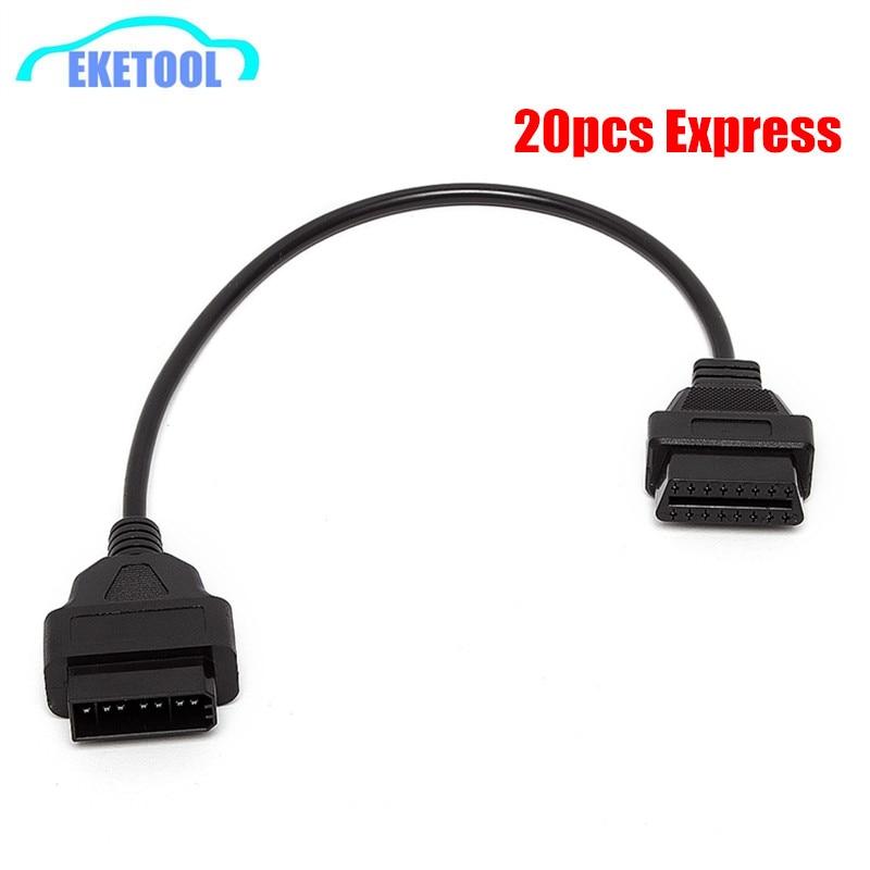 Express rápido 20 unids/lote OBD OBDII Cable de diagnóstico para Nissan 14 Pin a OBD2 16 Pin hembra DLC plomo se adapta a Nissan 14 Pin