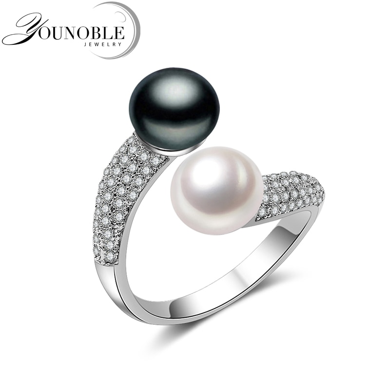 fashion natural pearl rings 925 sterling silver pearl ring adjustable white freshwater pearl ring butterfuly women birthday gift Real 925 Sterling Silver Double Pearl Rings Women,daughter gift bridal black pearl ring
