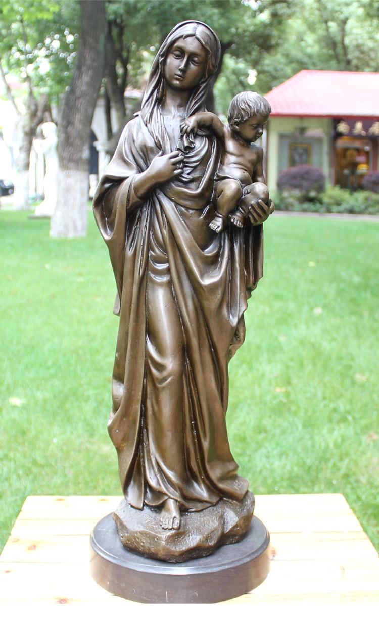 Madonna com Criança Decoração de Casa Cristianismo Catolicismo Jesus Cristo Religiosa Bronze Arte Estátua 58 cm Bom 2021