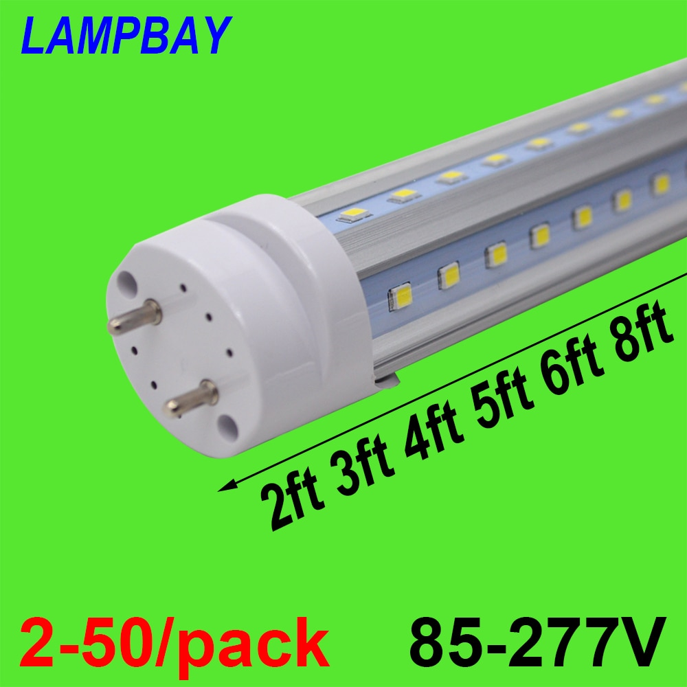 2-50/pack V shaped LED Tube Lights 2ft 3ft 4ft 5ft 6ft Fluorescent Bulb Super Bright 24