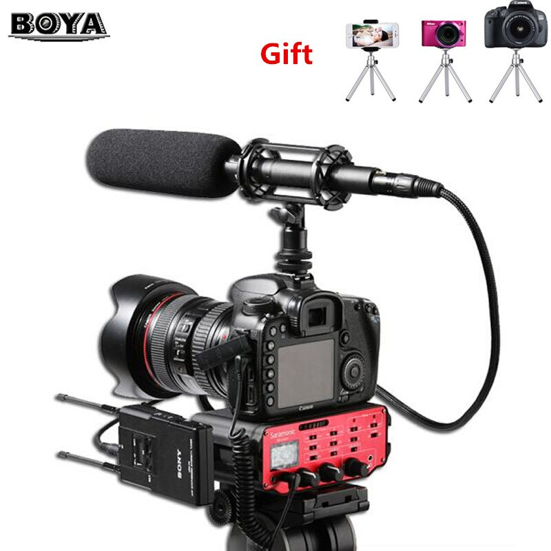 BOYA BY-PVM1000 micrófono condensador de escopeta de calidad de transmisión profesional para videocámara de vídeo DSLR cámara Mic 3 pines salida XLR